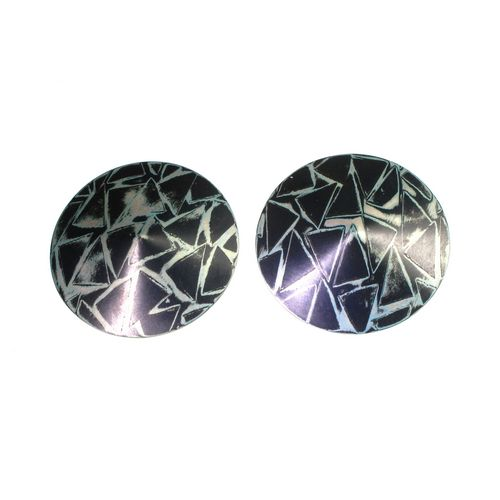 Mokume Gane Round Earrings Sil and Gilding