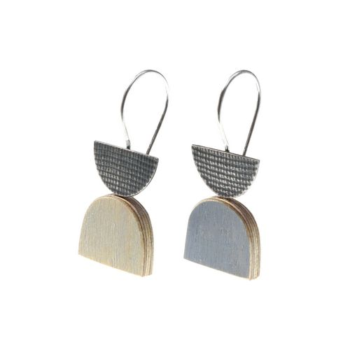 Painted Plywood Hook Earrings