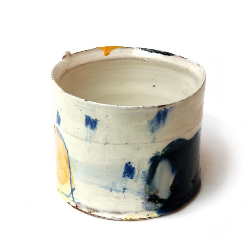 Thrown Vessel with Blue and Yellow
