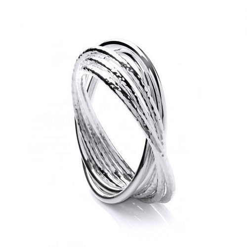 Silver 5 Band Textured Bangle