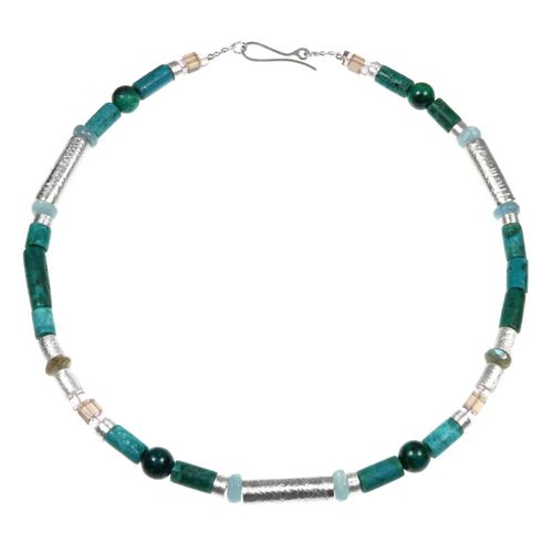 Turquoise Aquamarine Chrysophrase Necklace