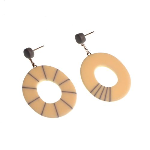 Cream Oval and Grey Stripe Mis-match Earrings