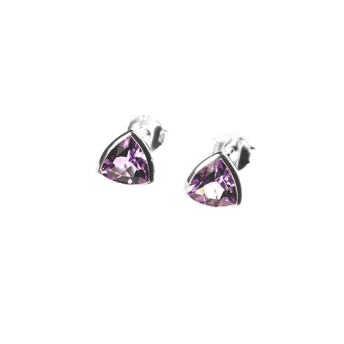 Trillion Cut Amethyst Stud Earrings