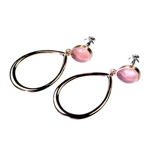 Rose Quartz Oval Drop Earrings