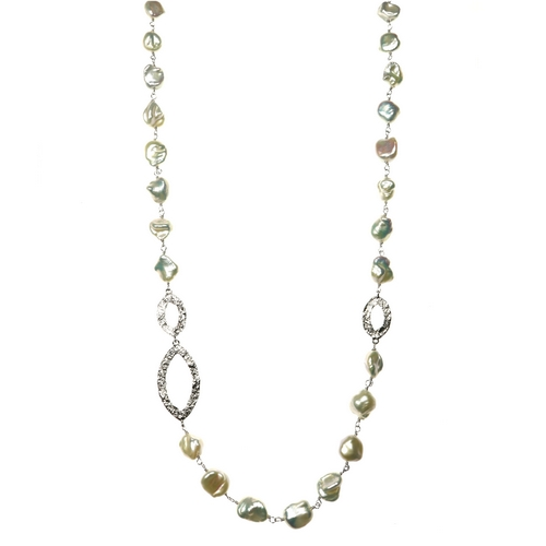 Long Pearl Necklace with Silver Links