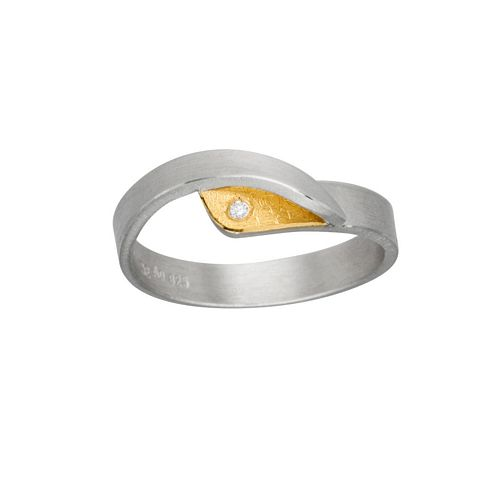 Silver + 22ct + Diamond Ring