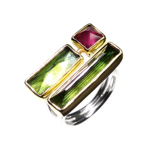 Green Tourmalines and Red Garnet Ring