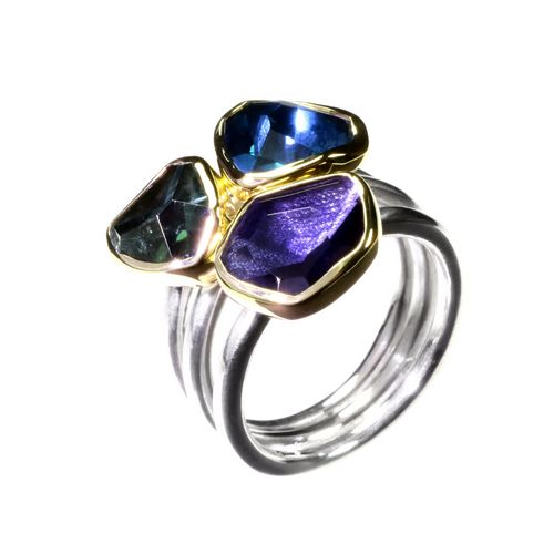 Tanzanite, Blue Topaz and Green Tourmaline Ring