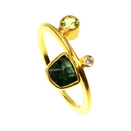 Ring - Tourmaline, Peridot and  0.03 Diamond