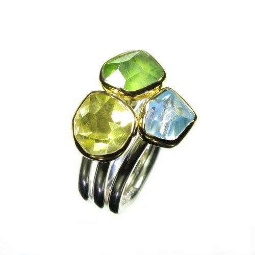 Aquamarine Peridot Lemon Quartz Ring