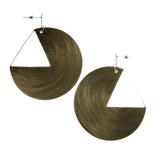 Quarter Circle Carbon Fibre Drop Earrings with Gold and Silver Finish