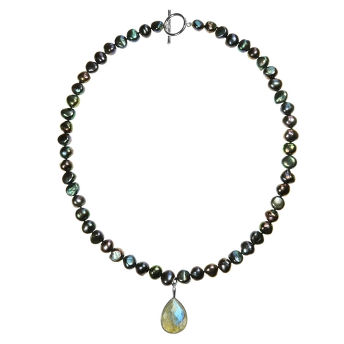 Black Pearl Necklace with Laboradite Pendant