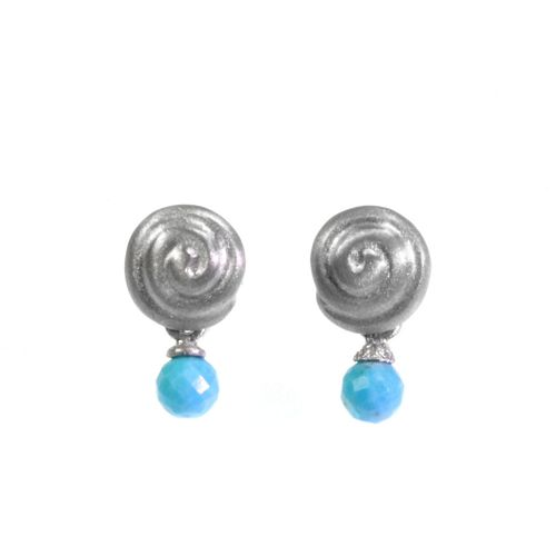 Earring - Silver Snail 8mm with Turquoise Drop
