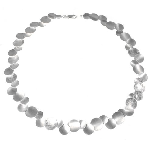 Dished Silver Circles Necklace by Tezer