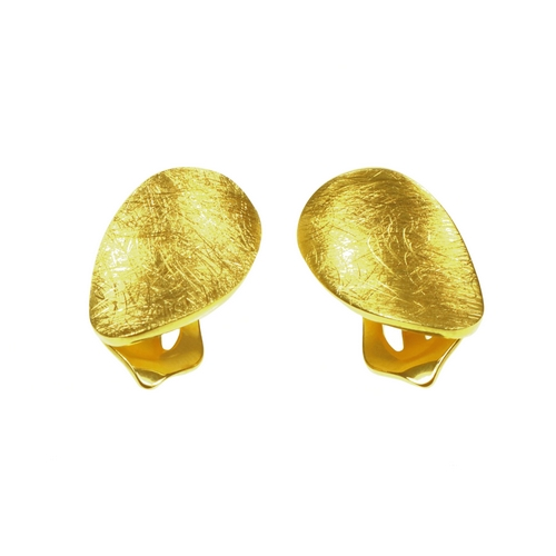 Oval Gold Plated Clip on Earrings