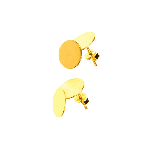 Double Disc Etched Finish Stud Earrings