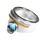 Silver/18ct+Blue Topaz Ring