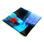 Sq Glass Plate 'Blue Tapestry Land'