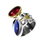 Ring Silver, 22K Gold, Tourmaline, Labradorite