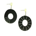 Black Oval and Cream Stripes Mis-match Earrings