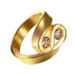 Gold Twist Ring with Double Cognac Diamonds