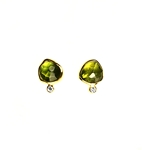Earrings, Peridot and Diamonds