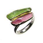Peridot  Red Tourmaline Ring