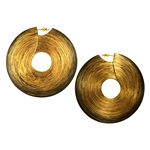 Large Carbon Fibre Drop Earrings with Circular Gold Finish