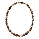 Round & Coin, Fresh Water Pearl Bronze colour Necklace.