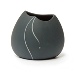 Black Porcelain White Inlay Pot