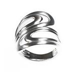 Multi Swirl Brushed Silver Ring