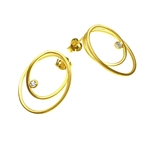 Large Double Loop Gold Earrings with Diamonds