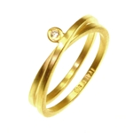 Double Twist Band Ring with Diamond