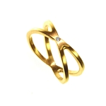 Ring Diamond and Gold Double Band